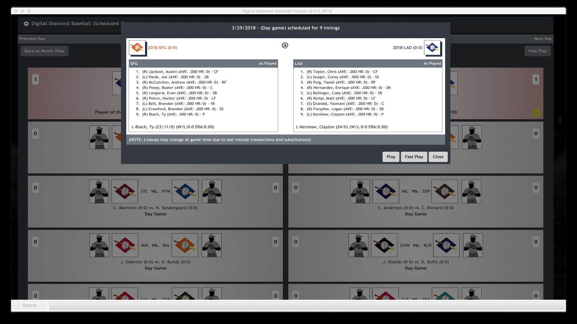 Digital Diamond Baseball V8 screenshot