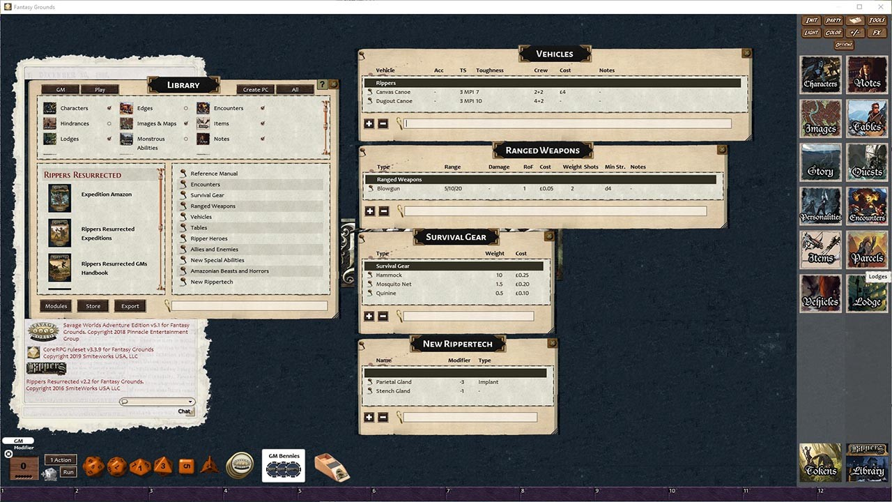 Fantasy Grounds - Rippers Resurrected Expedition: Amazon (SWADE) screenshot
