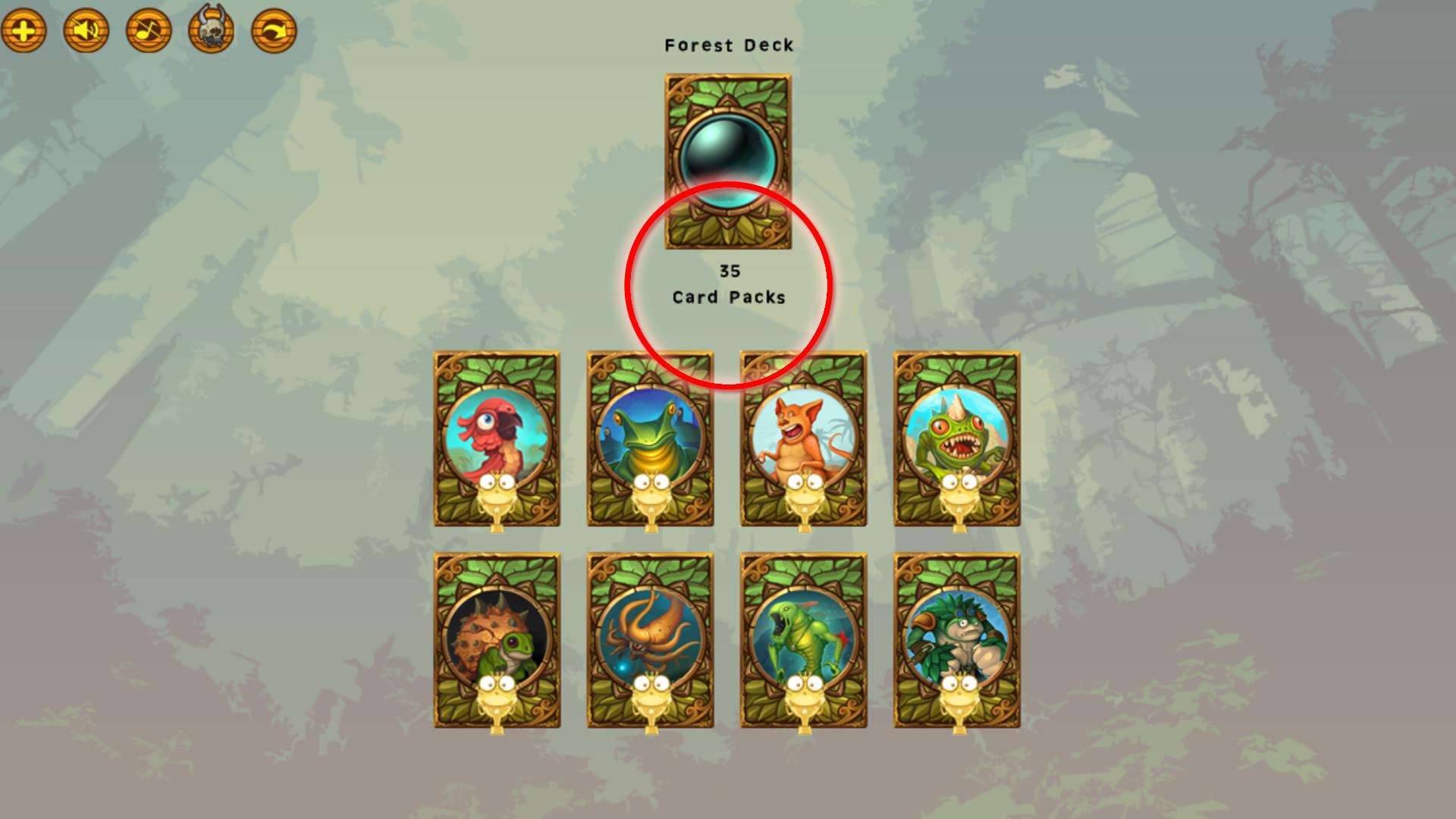 Creature Clicker - 100 Forest Deck Card Packs screenshot