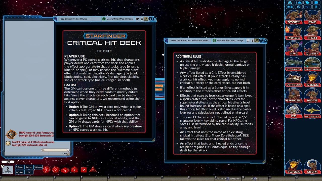 Fantasy Grounds - Starfinder RPG - Starfinder Critical Hit Deck screenshot
