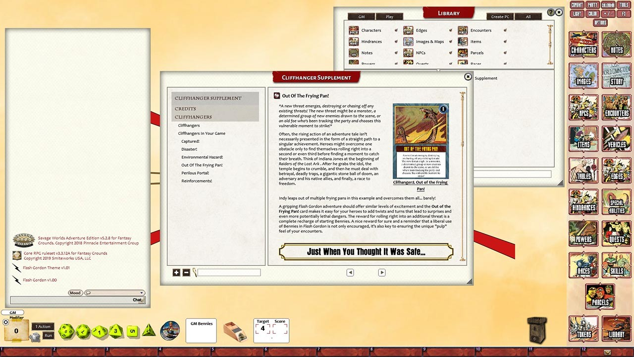Fantasy Grounds - Flash Gordon Cliffhanger Supplement screenshot