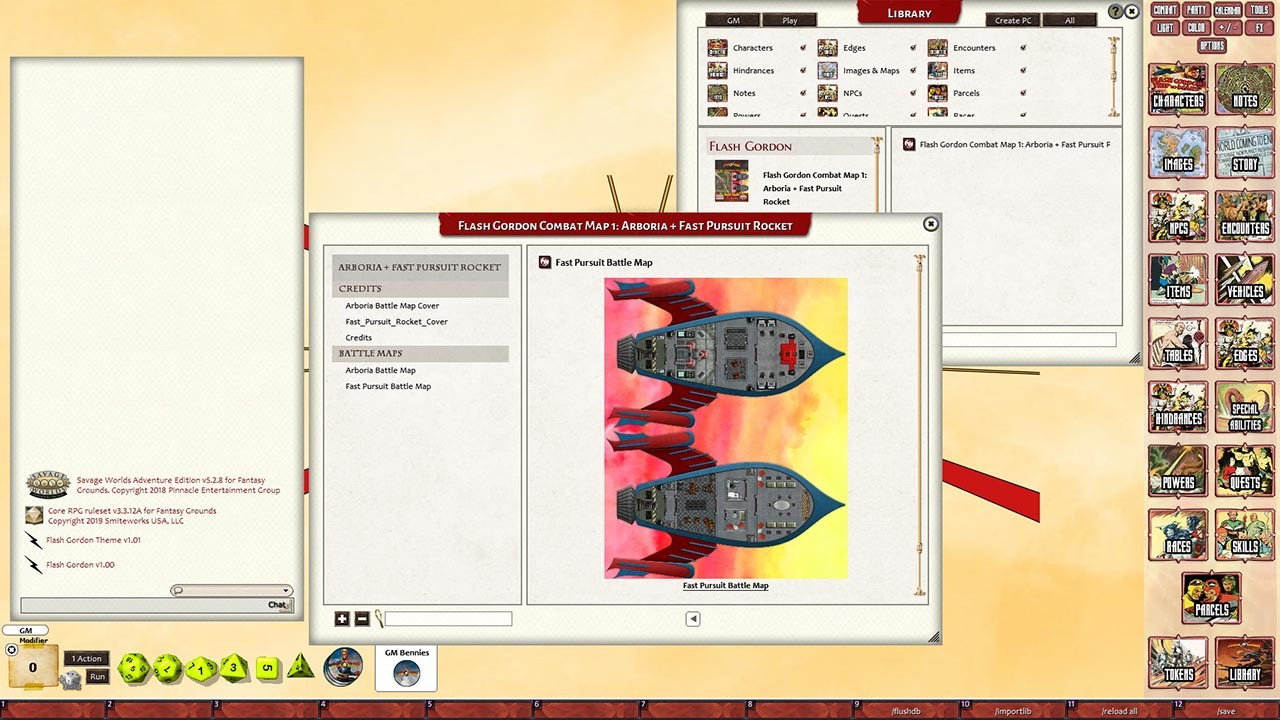 Fantasy Grounds - Flash Gordon Combat Map 1: Arboria + Fast Pursuit Rocket screenshot