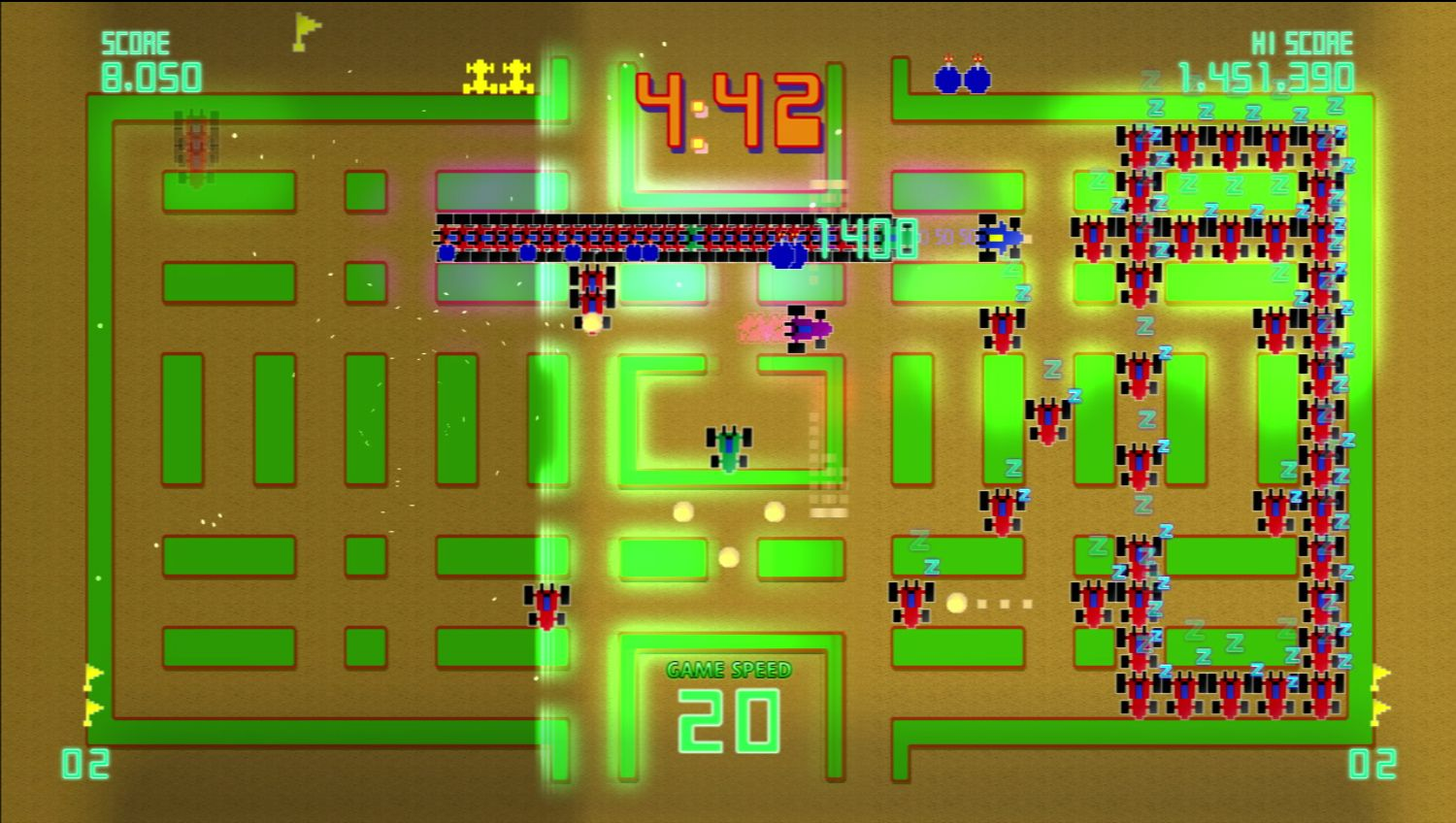 Pac-Man Championship Edition DX+: Rally-X Skin screenshot