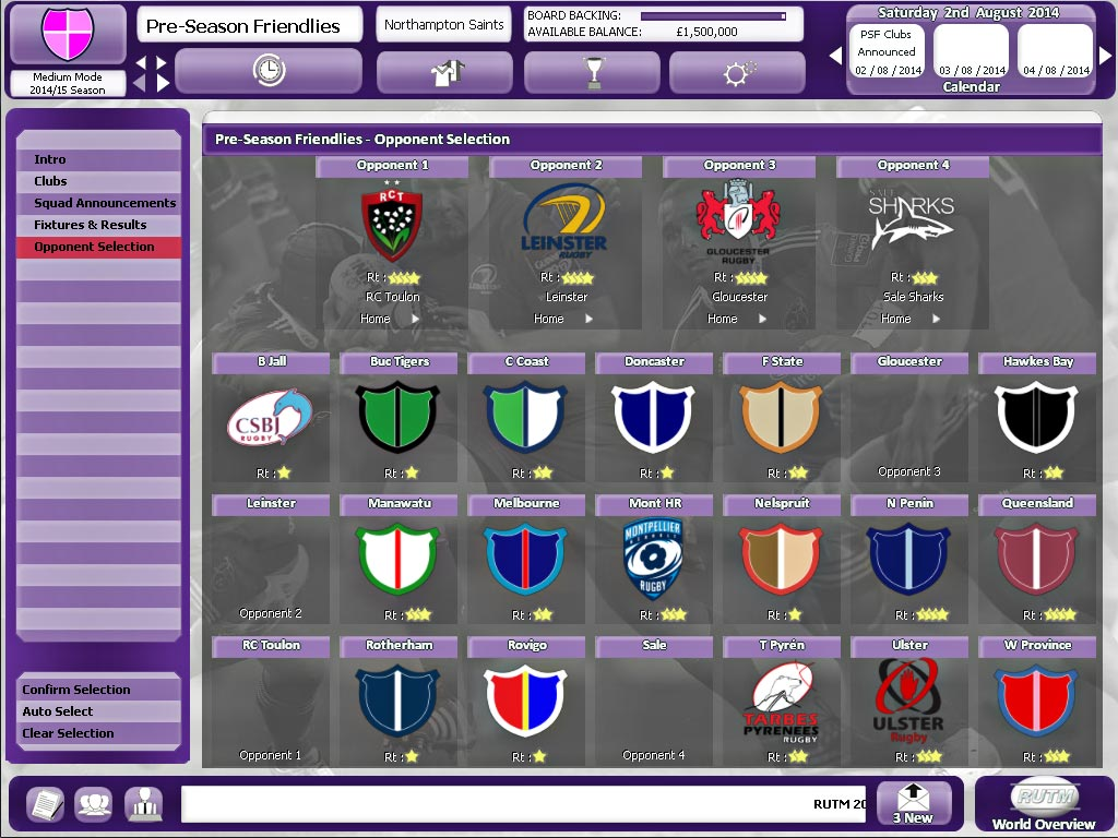 Rugby Union Team Manager 2015 screenshot