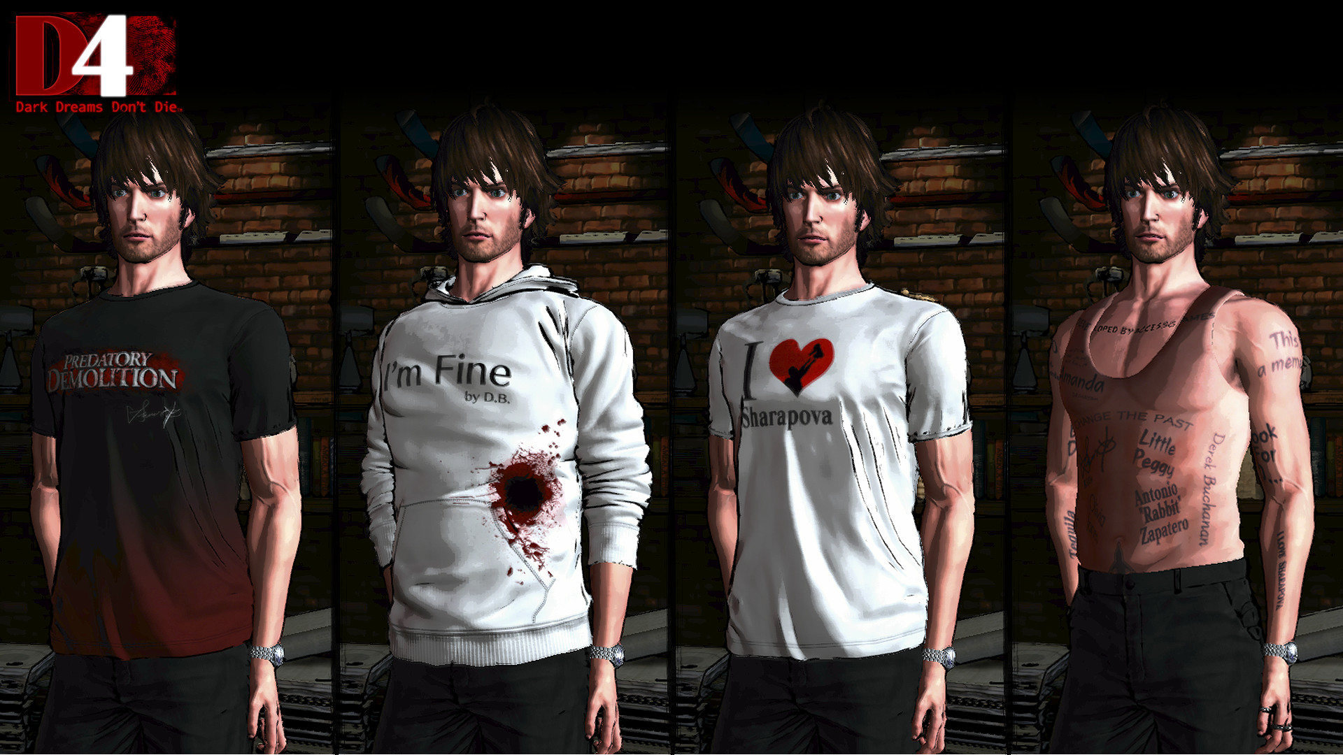 D4: SWERY's Choice Costume Set -4 Bottles of Tequila- screenshot