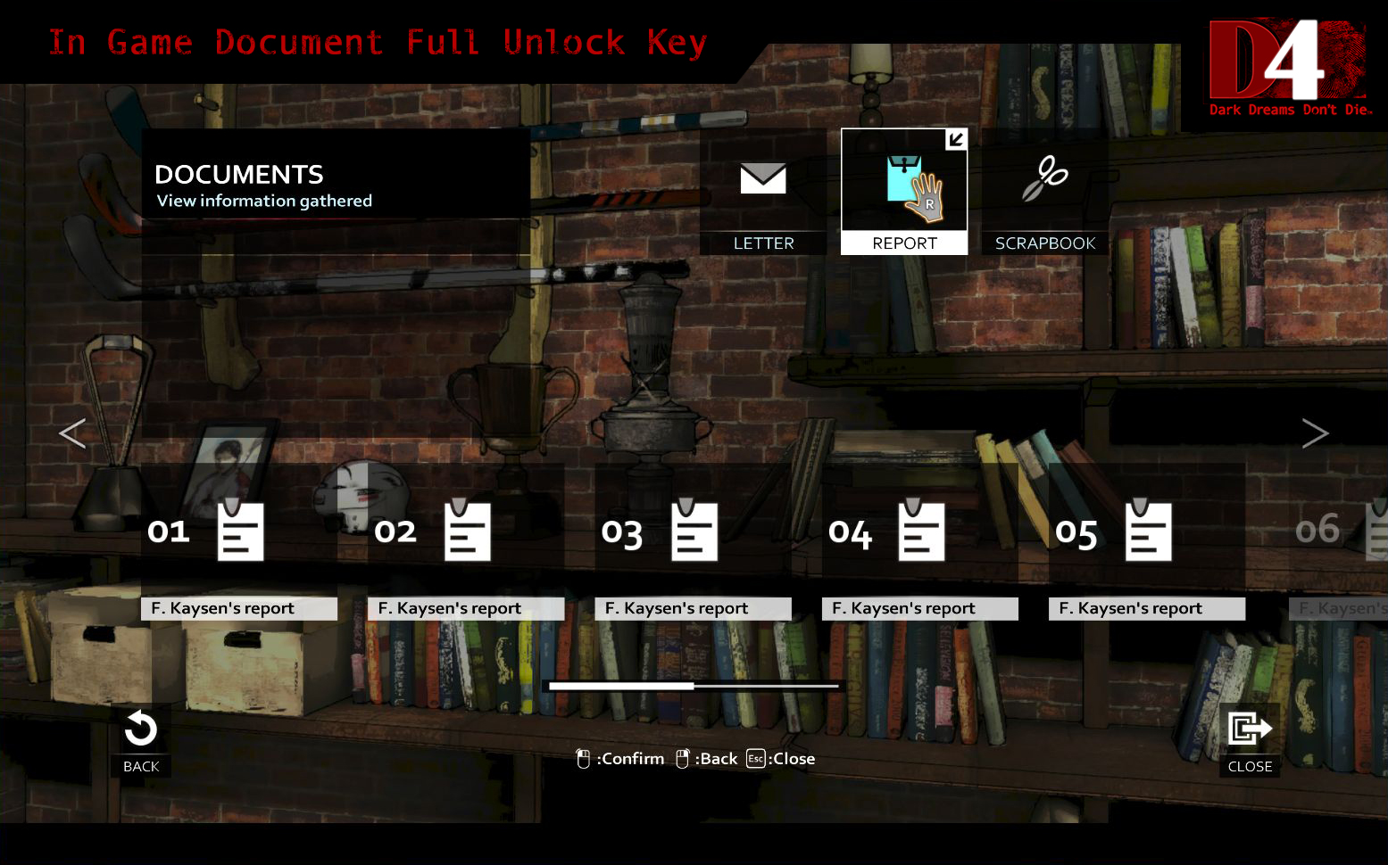 D4: In Game Document Full Unlock Key screenshot