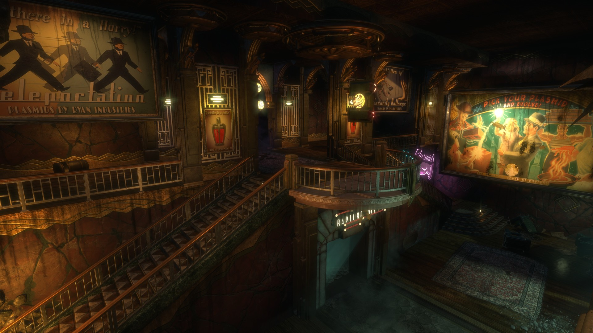 A beautiful looking place, for murders, crazy artists, and big metal murdering machines. (BioShock, Irrational games)
