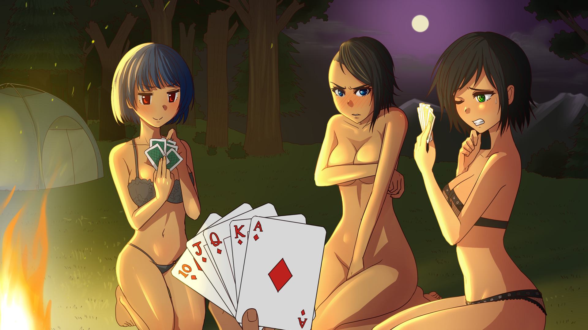 4 beautiful women play stripping a balancing game