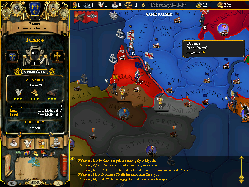 For The Glory: A Europa Universalis Game screenshot