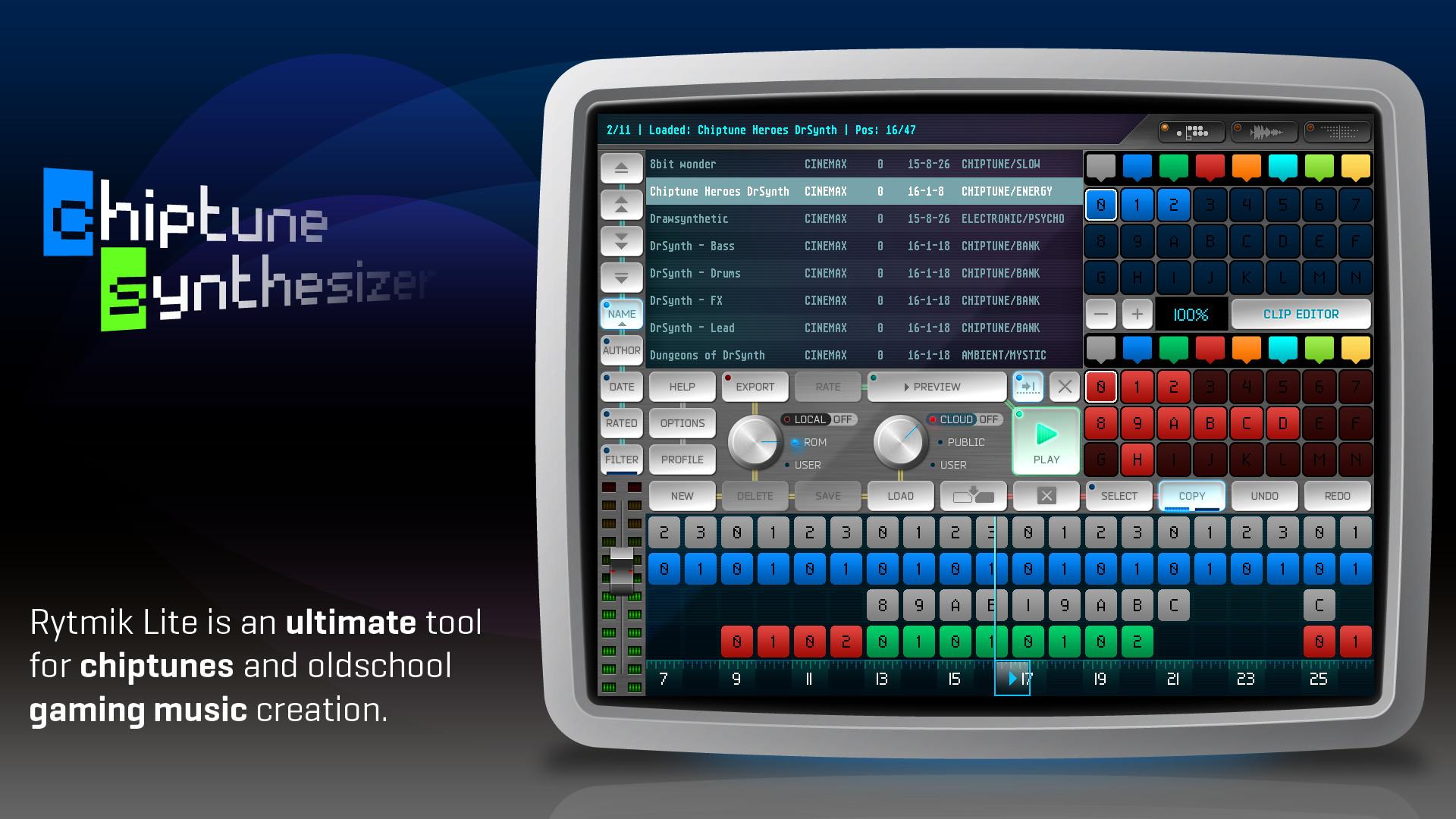 Rytmik Lite Chiptune Synthesizer screenshot