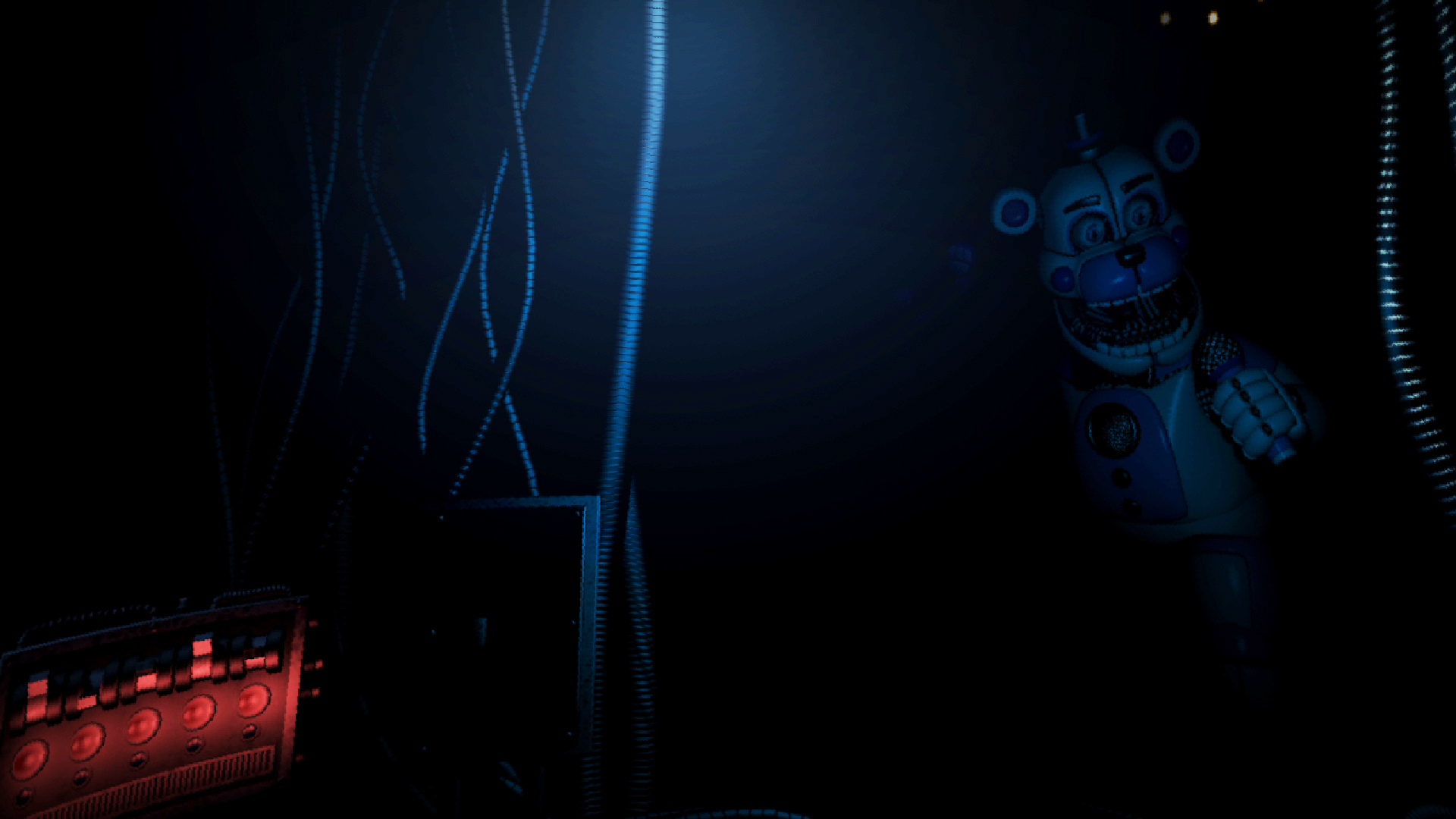 ... Showing Funtime Freddy Leering Out Of The Shadows .