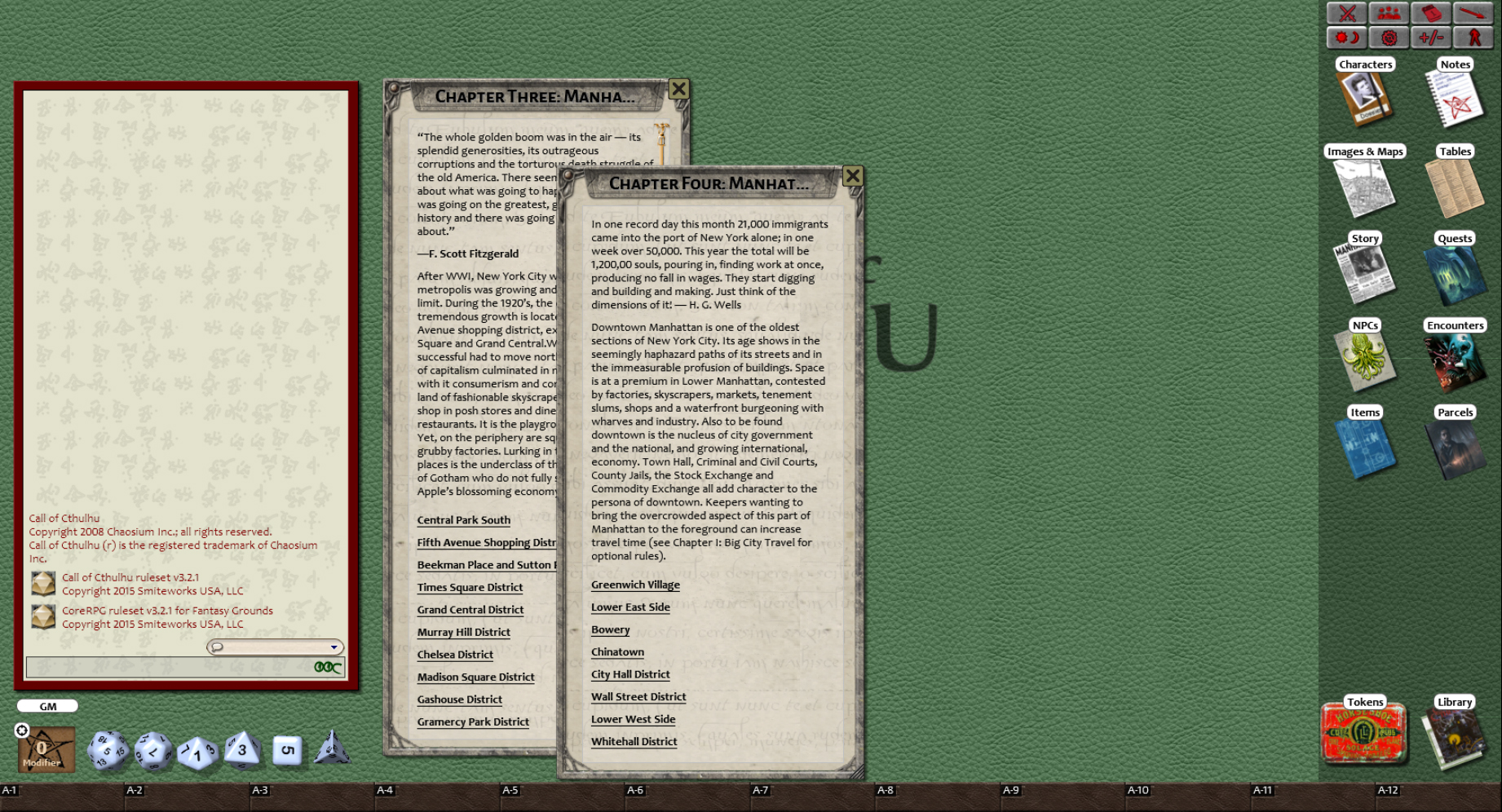 Fantasy Grounds - Secrets of New York (CoC) screenshot