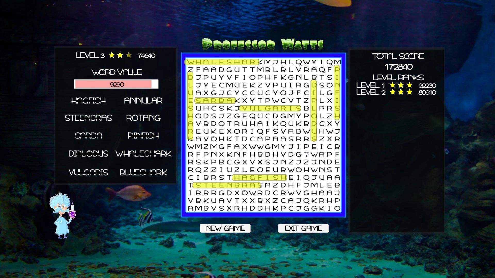 Professor Watts Word Search: Into The Ocean screenshot