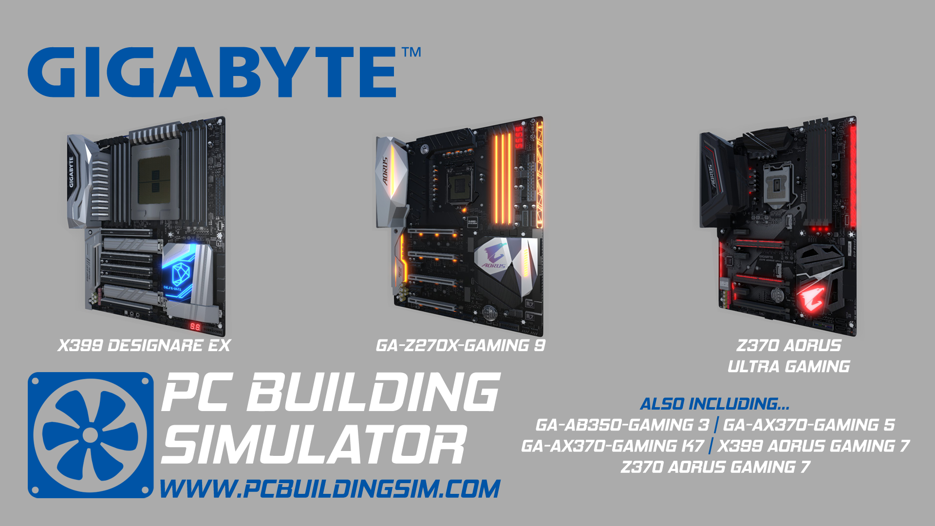 Pc Building Simulator Launches Tomorrow And Includes Gigabyte Ga Ax370 Gaming 5 Builders Will Have Several Motherboards To Choose From The Range Including Ab350 3 K7 9 X399 Series