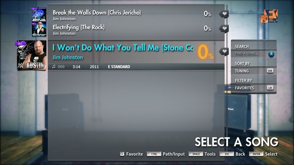"Скриншот №4 к Rocksmith® 2014 Edition – Remastered – Jim Johnston - ""I Wont Do What You Tell Me Stone Cold Steve Austin"""