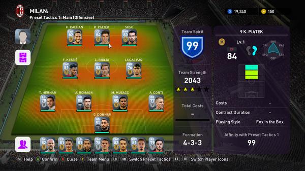 Скриншот №1 к eFootball  PES 2020 - myClub MILAN Squad