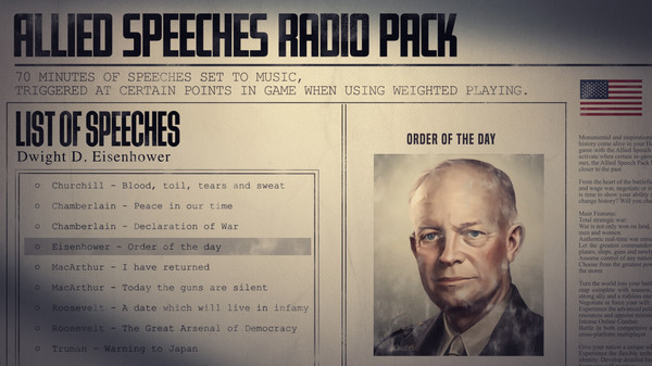Скриншот №3 к Hearts of Iron IV Allied Speeches Music Pack