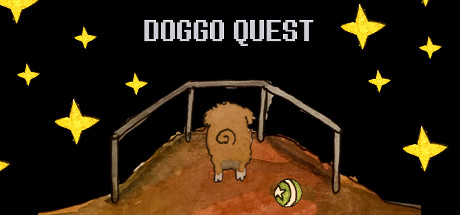 """You see in watercolour a doggo with a ball standing on a balcony and facing the star-lit sky with the title saying """"Doggo Quest""""."""