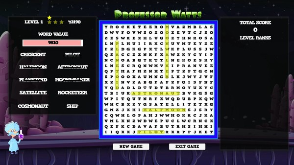 Professor Watts Word Search: Space Voyage screenshot