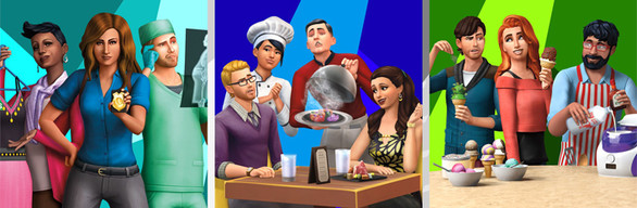 The Sims™ 4 Bundle - Get to Work, Dine Out, Cool Kitchen Stuff